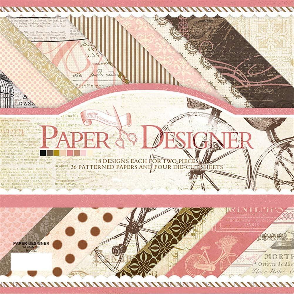 "S&X Scrapbook Paper Book Vintage Pad Classic Origami DIY Card Photo Frame Album Creative Handmade Decorative Die Cuts Background Multi Color Size (7"" x 7"", Pink)"