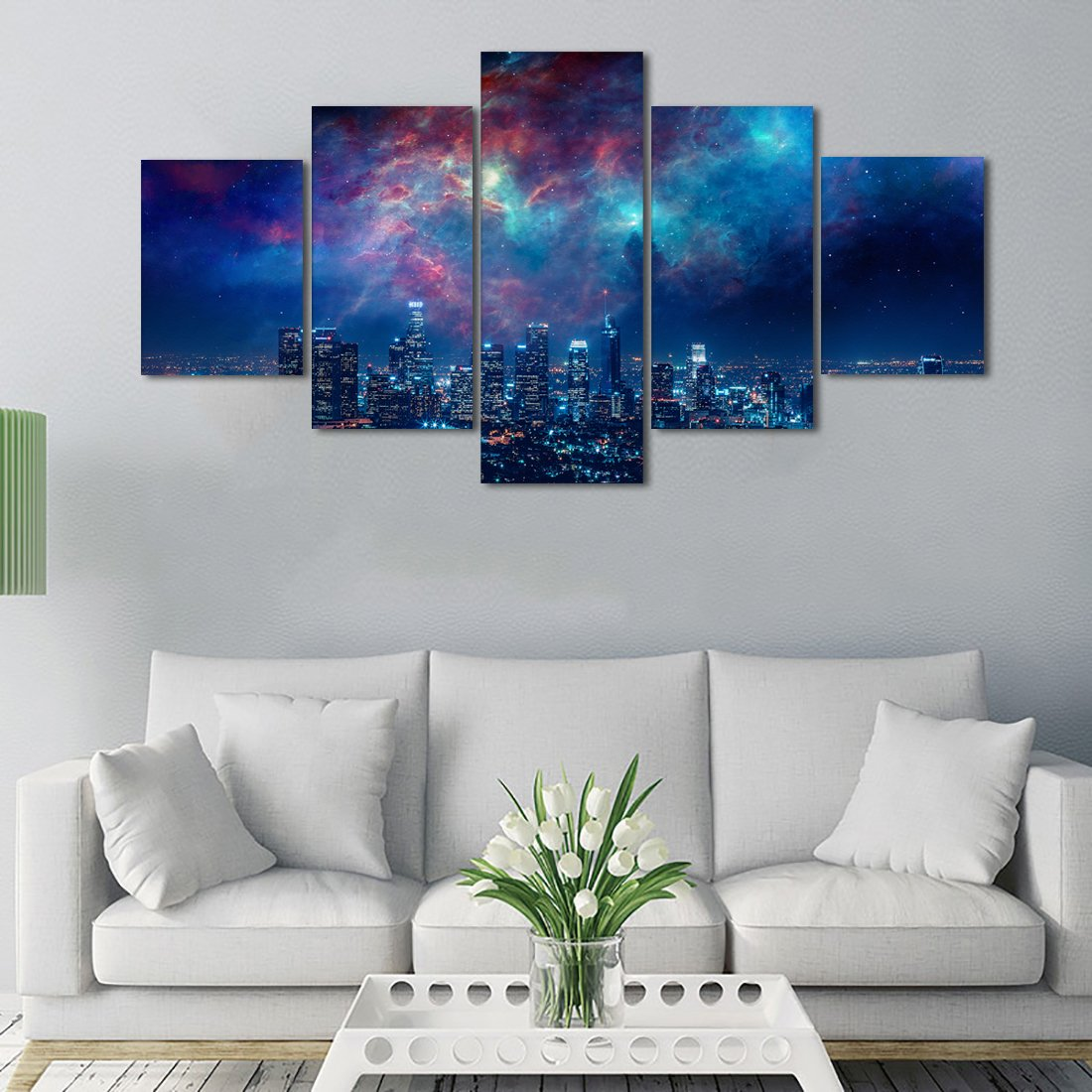 Beautiful Wall Art Painting on Canvas City Night Starry Sky Pictures Home  Decor Bedroom Wall Decorative Modern Artwork 5 Panel HD Paintings Set Frame  ...