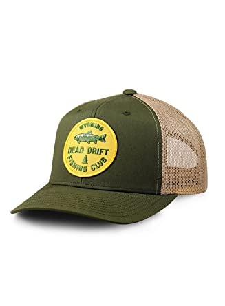 12fca3a3e842f Dead Drift Fly Fishing Hat Fishing Club Snap Back Trucker by Fly (Olive) at  Amazon Men s Clothing store