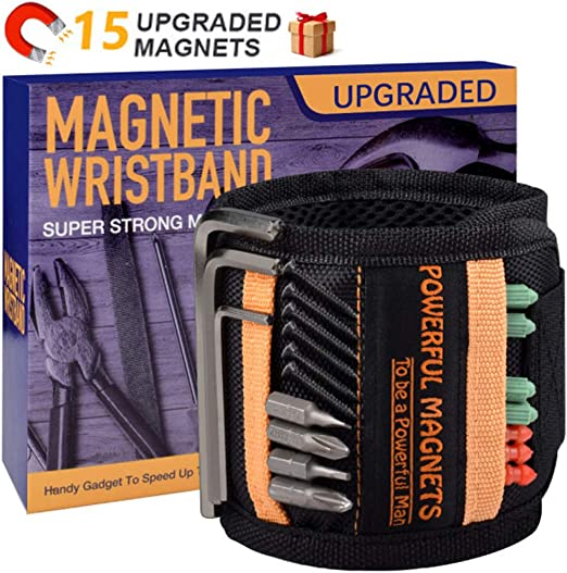 Black Powerful Magnetic Tool Wrist Strap Great Tool Gift Gadget for DIY Carpenters Electricians Mechanics and Builders Magnetic Wristband