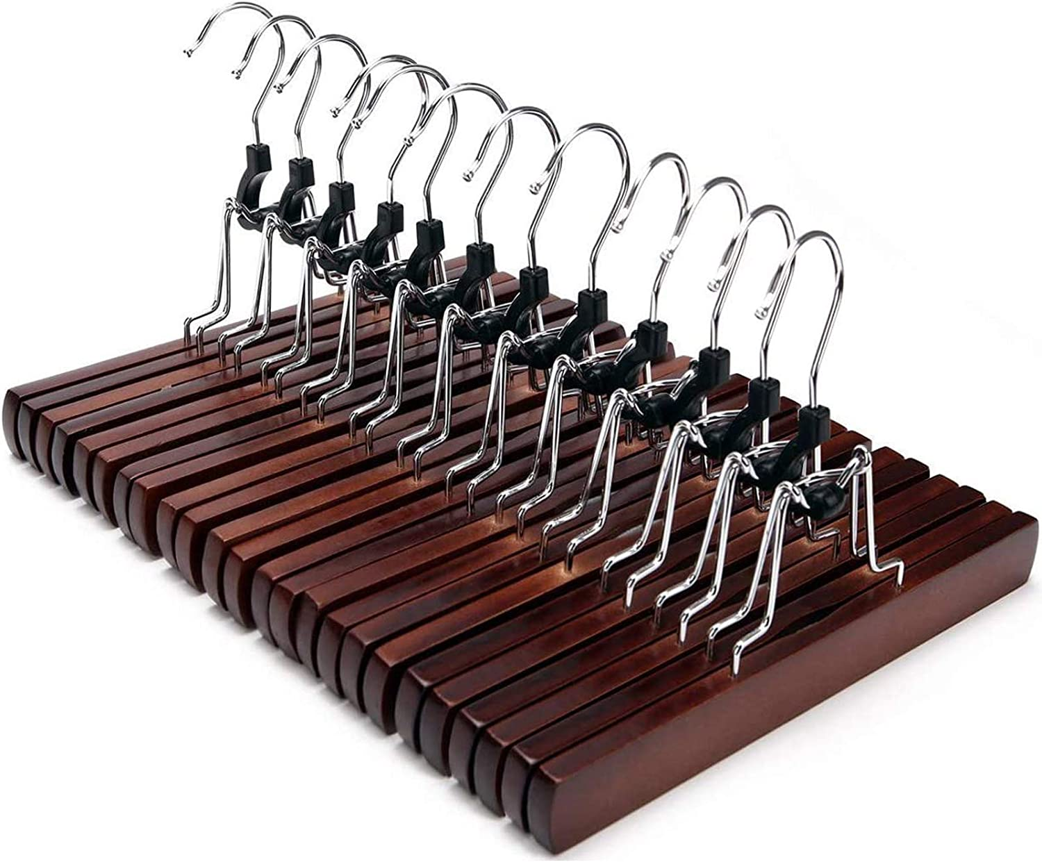 YCLOVE 12 PACK Pant Hangers with Clips Clothes Trousers Jean Skirt Slacks Hangers Boot Clips W//2 360/° Swivel Adujstable Clips Non-Slip Stainless Iron Anti-Rust YCG04S