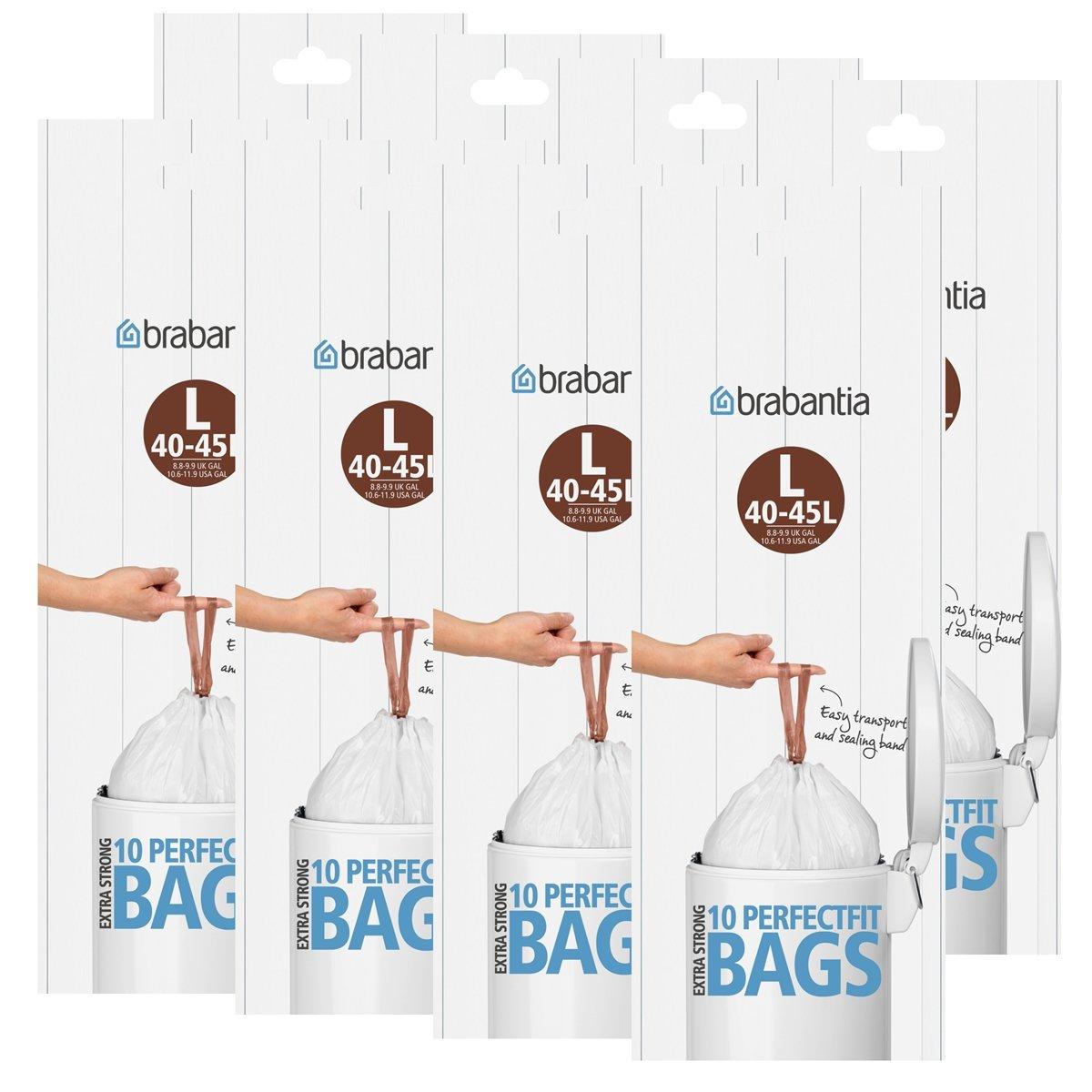 Sacchi della spazzatura Brabantia Smartfix (L) 40–45litri, 10Sacchetti di immondizia–Spezielle aerazione è facile inserimento–Perfetta del Sacco Rifiuti Nel Tuo Brabantia pattumiera (