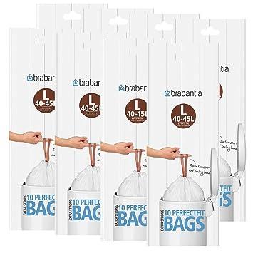 Brabantia bolsas de basura Smartfix (L) 40 – 45 L, 10 bolsas de basura – Ventilación facilitan el einsetzen especial de la basura Sacks – Ajuste ...