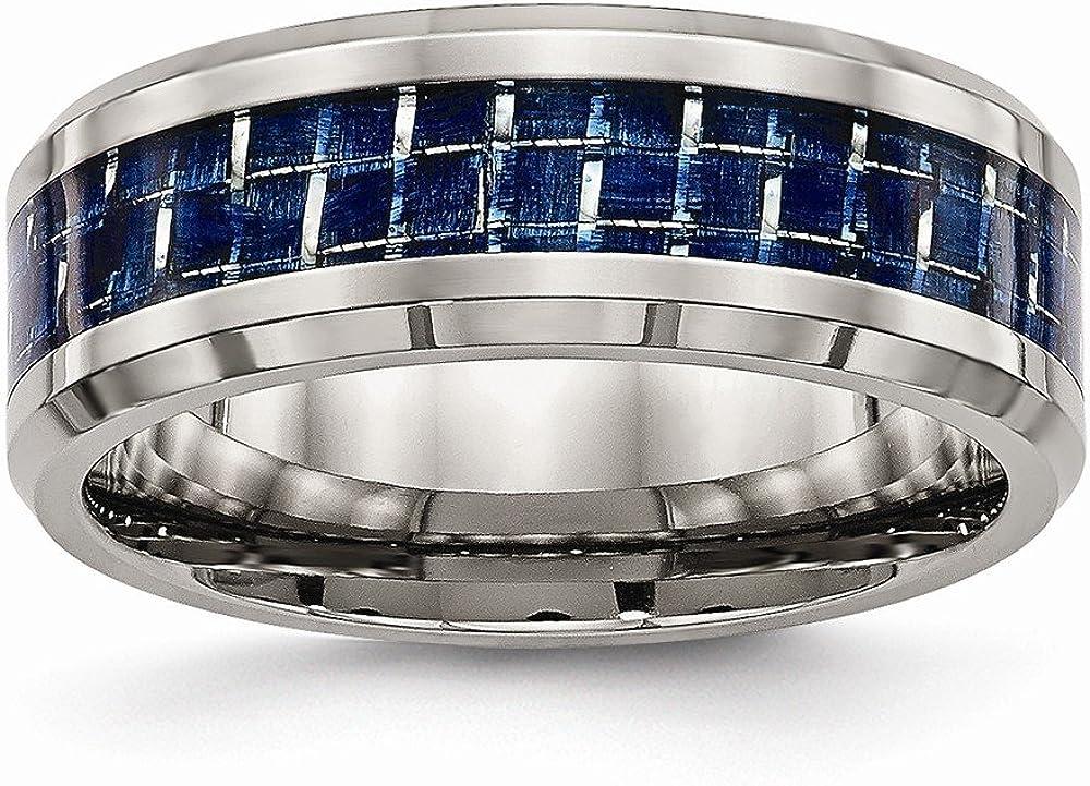 Bridal Wedding Bands Decorative Bands Titanium Polished with Blue Carbon Fiber Inlay Band Size 7