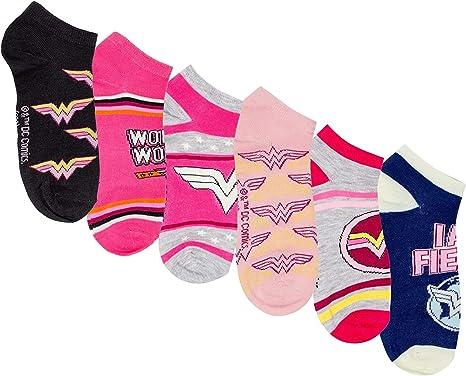 Hyp DC Comics Wonder Woman Ladies Low Cut Socks 6-Pair Pack Shoe Size 4-10
