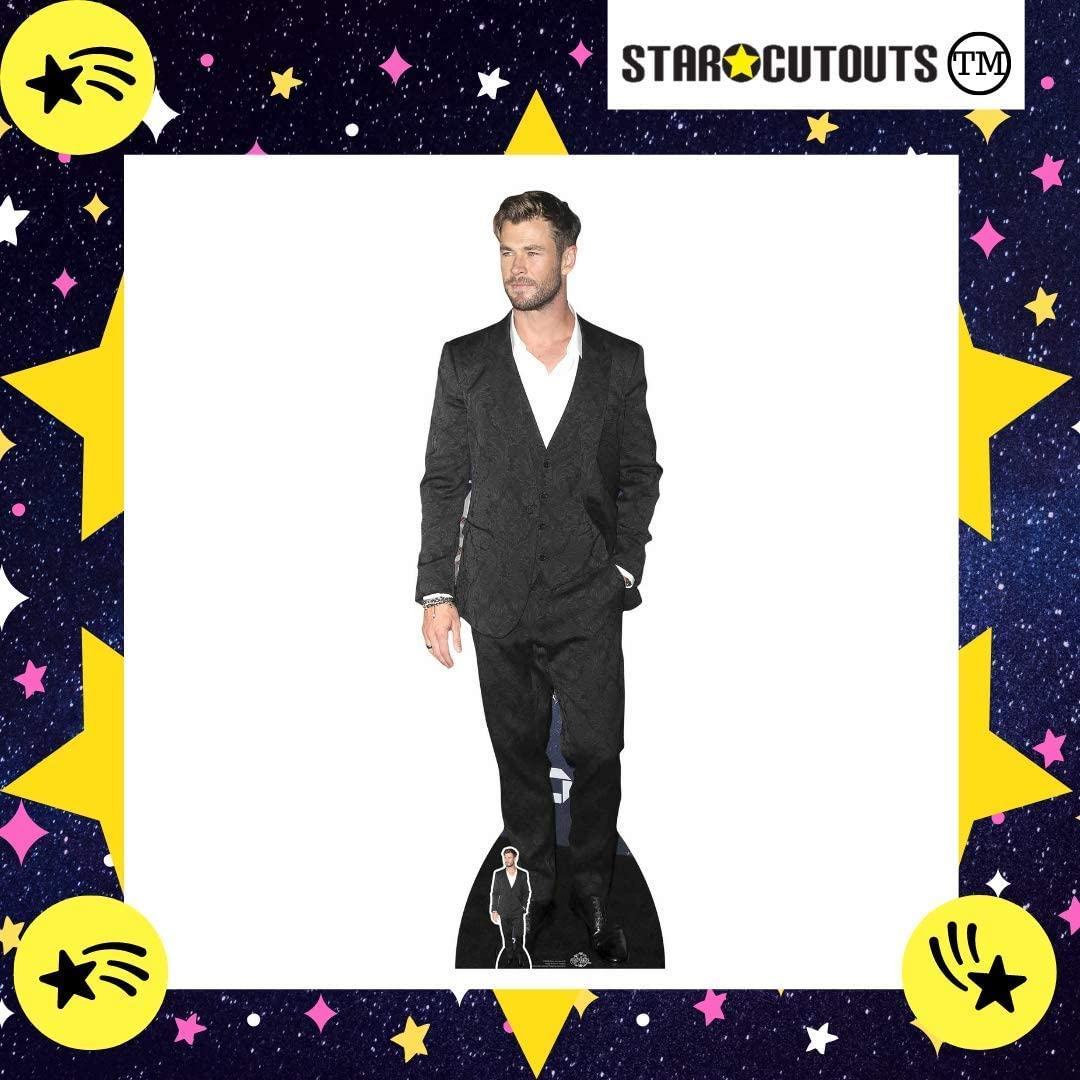 Star Cutouts Ltd CS845 Chris Hemsworth Blue Suit Black Tie Lifesize Cardboard Cutout with Free Mini Standee Perfect Photo Gift for The Home Multicolour Fans regular Collectors Family and Friends