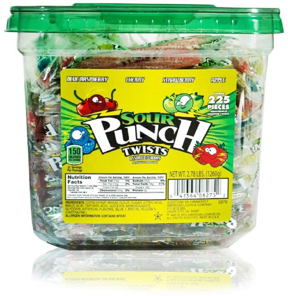 Sour Punch Twists Tub, 225 Individually Wrapped Twists, 4 Flavors: Blue Raspberry, Cherry, Strawberry, Apple, 2.78 lbs (1260g)