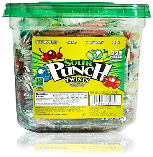 "Sour Punch Twists, 3"" Individually Wrapped Chewy Candy, 4 Fruity Flavors, 2.78LB Jar"