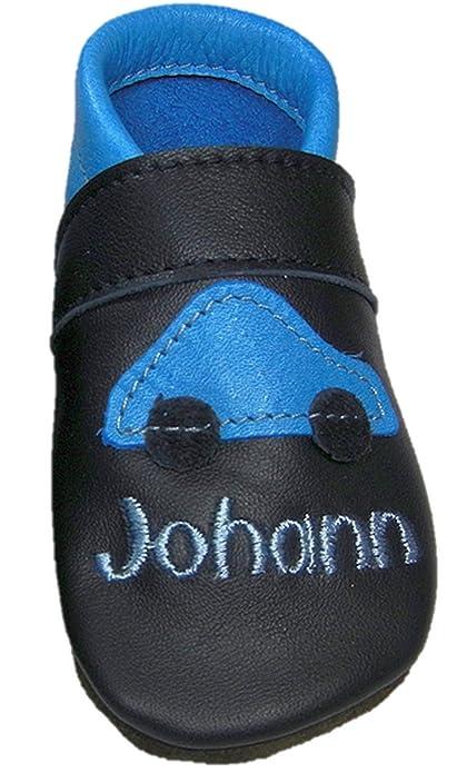 bis zu 80% sparen unverwechselbarer Stil achten Sie auf Mopus Mopu's® Krabbelschuhe - Lederpuschen in Blau mit Auto und  individueller Bestickung - Wunschnamen - Kosewort