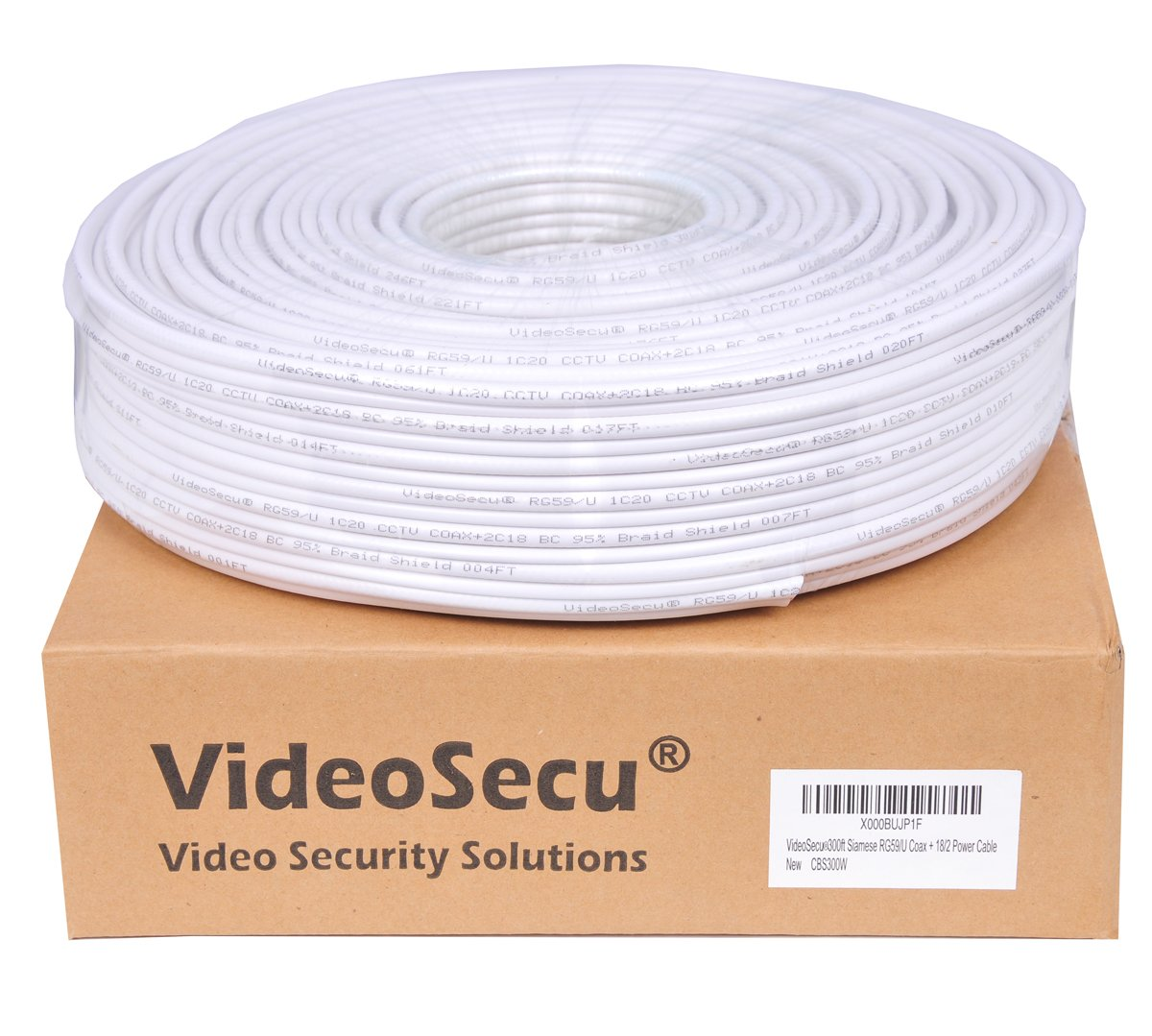 VideoSecu RG59 /U Siamese CCTV Combo Coaxial Cable 300ft,20AWG 18/2 18AWG Video Power Security Camera Cable Home Surveillance DVR System Extension Wire Cord AA1 by VideoSecu