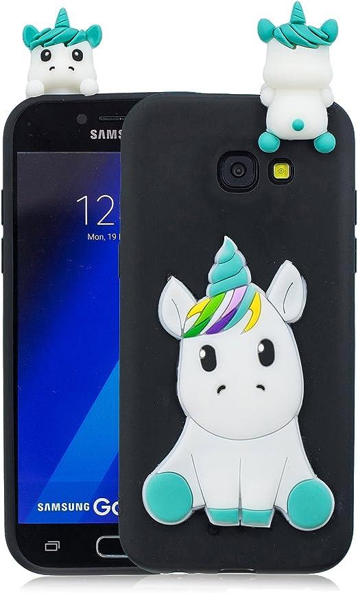 Leton Galaxy A5 2017/A520 Coque souple en silicone pour enfants Motif licorne 3D