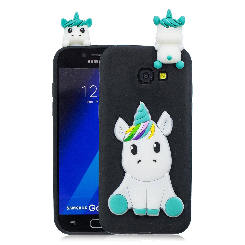 HopMore Coque Samsung Galaxy A5 2017 Silicone Souple 3D Design Motif Drô le Mignonne Etui É tui Antichoc Ultra Mince Fine Gel Slim Case Housse Protection pour Fille Femme - Panda Noir