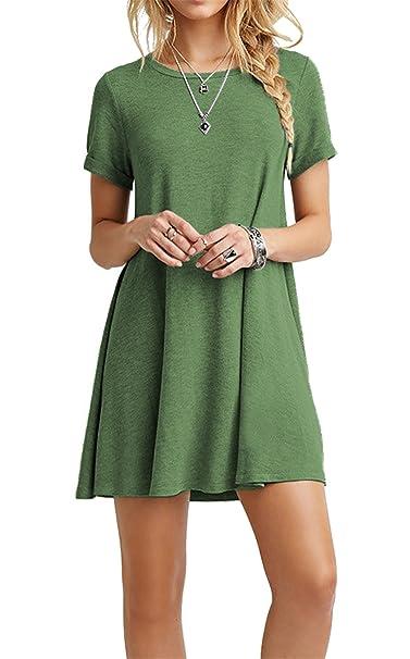 Cpokrtwso Women S Casual Plain Tshirt Dress Plus Size Loose Swing