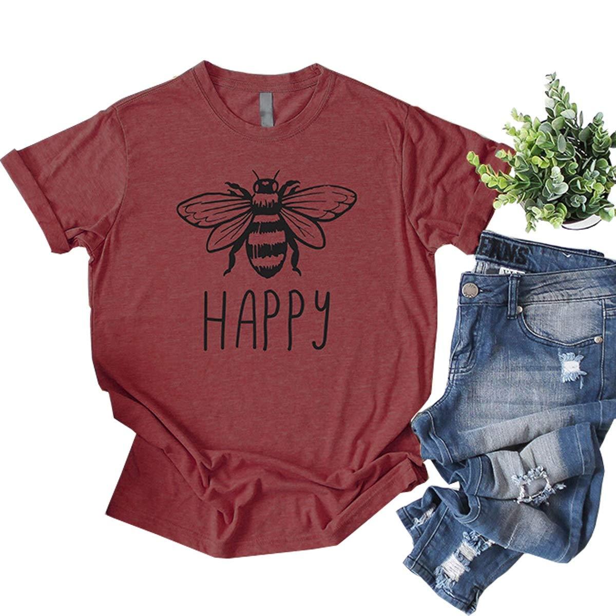Womens Bee Happy Print Cute Graphic Tees Short Sleeve T-Shirt Tops