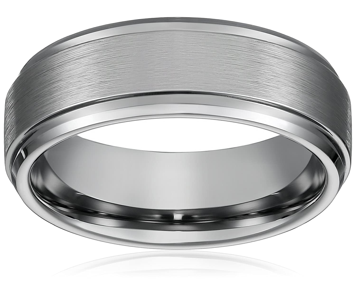 8MM Men's Titanium Ring Wedding Band with Flat Brushed Top and Polished Finish Edges Cavalier Jewelers