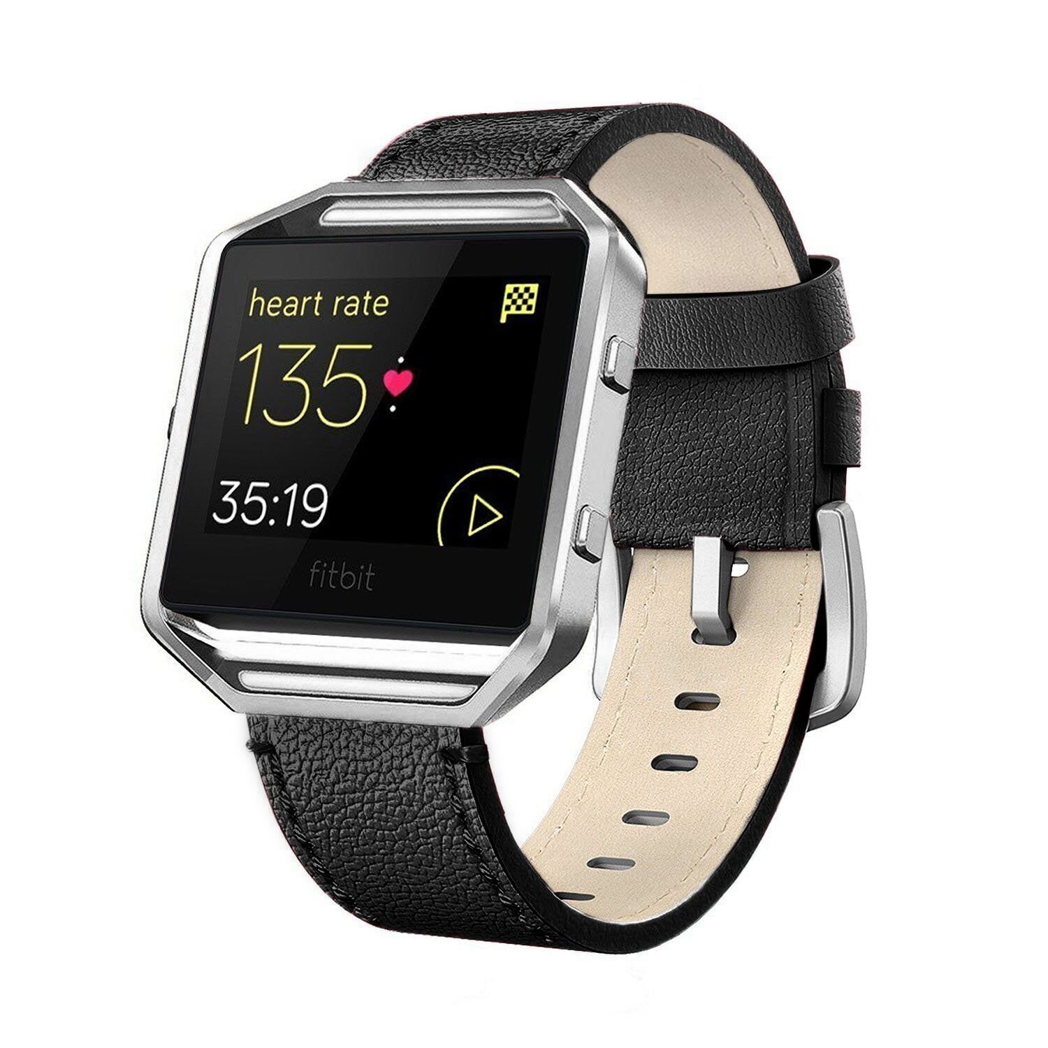 White 5-8.2 Blue Brown Pink Andyou Fitbit Blaze Bands Leather with Frame Small Large Genuine Leather Replacement Band with Silver//Rose Gold//Black Metal Frame for Fitbit Blaze Women Men Black