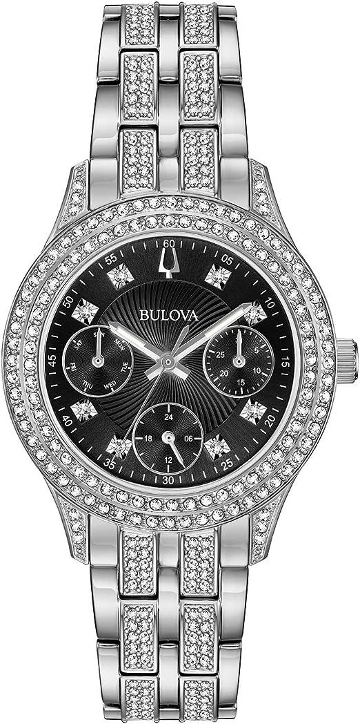 Bulova Women's Swarovski Crystal Stainless Steel Quartz Watch with  Stainless-Steel Strap, Silver, 16 (Model: 96N110)
