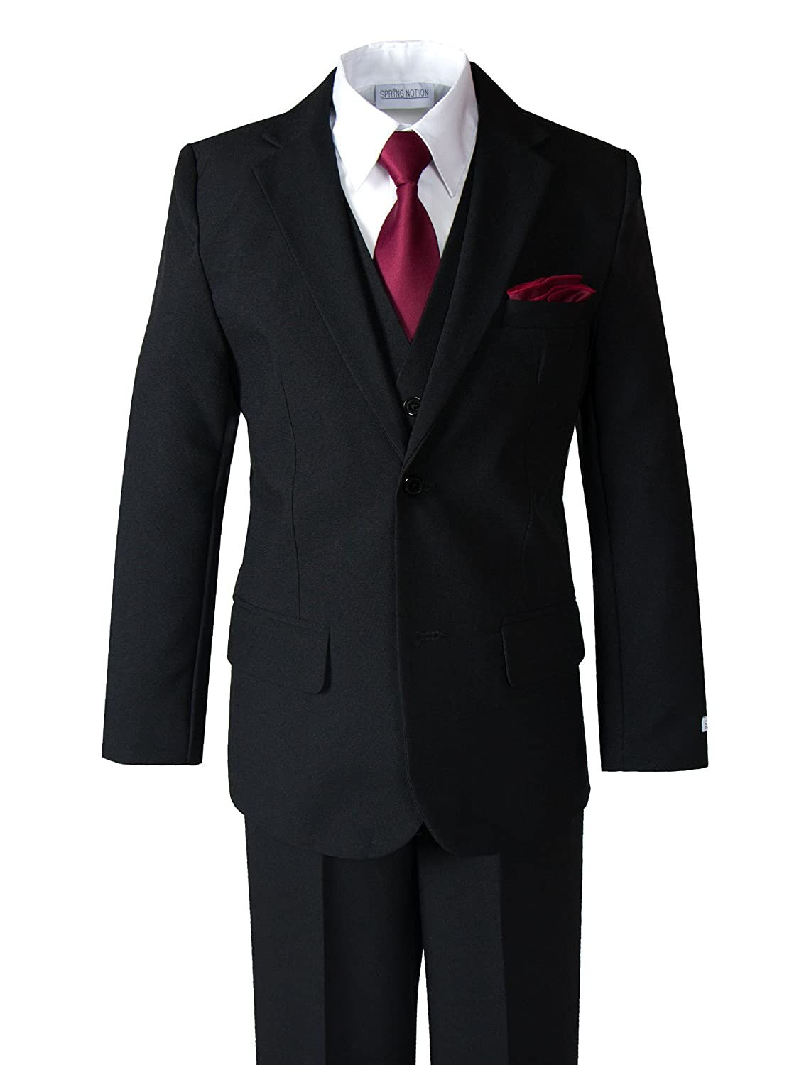 Spring Notion Big Boys' Modern Fit Dress Suit Set with Necktie and Handkerchief ERF030-SNS-030-TH