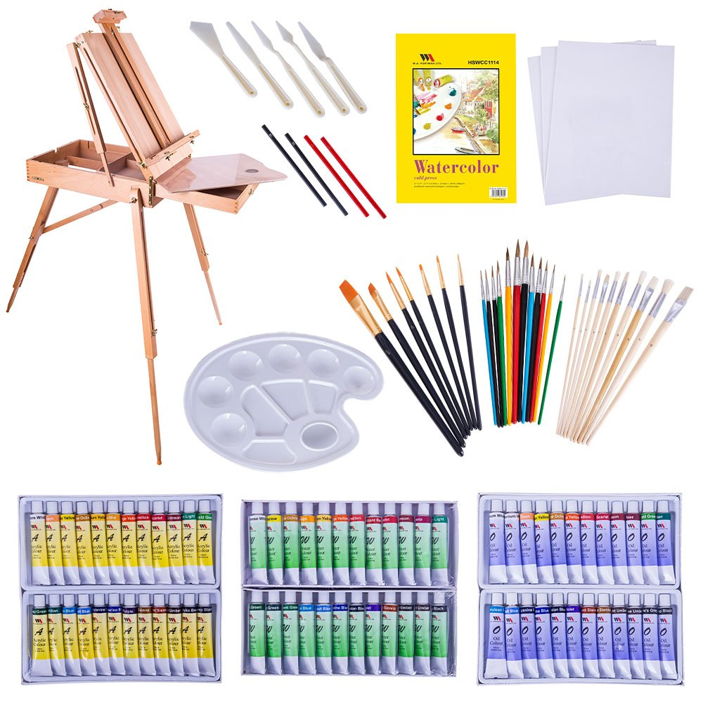 WA Portman Professional Painting and Art Supplies I 121 pc Artist Paint Tools Set I Field Easel with Storage I Canvases and Pad I Acrylic Oil Watercolor Paint Sets I Brush Sets and More by W.A. Portman