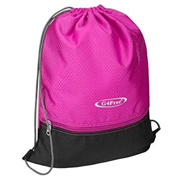 G4Free Water Repellent Gymbag Large Drawstring Backpack Sackpack for Shopping  Sport Yoga(Pink-Black ce6d19e7e1