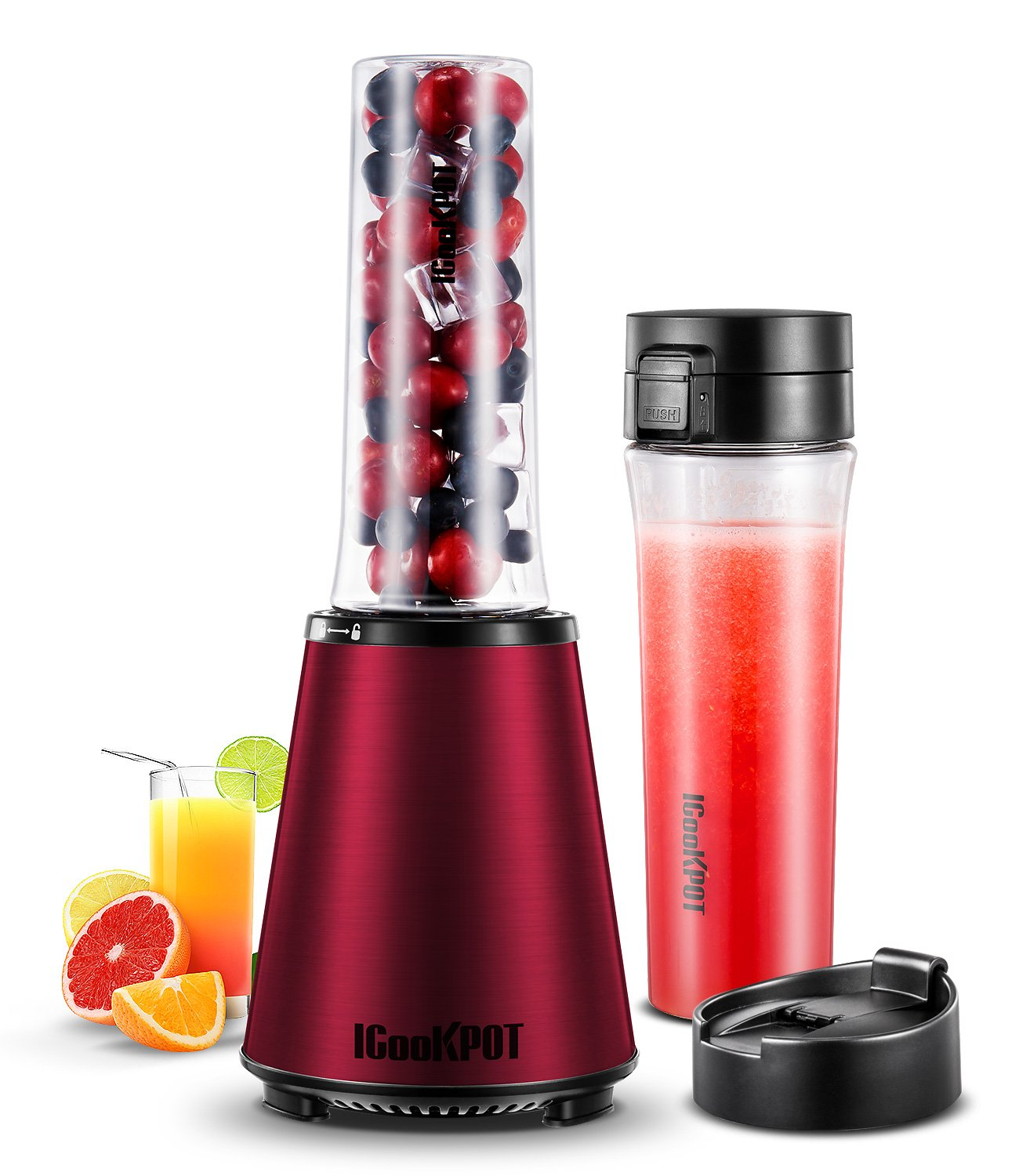 ICOOKPOT Smoothies Blender Electric Personal Size Blender for Shakes and Smoothies Frozen Fruit Vegetable Juice Blender Baby Food Maker With 2 BPA-Free Portable Sport Bottles Red Ice Blender
