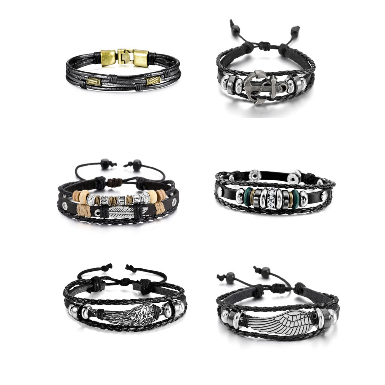 MOWOM 4~8PCS Black Brown Silver Tone Alloy Genuine Leather Bracelet Bangle Rope Braided ca5020326