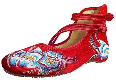 SMITHROAD Damen Ballerina Schuhe mit Stickerei Blumen Muster 3CM Blockabsatz Klettverschluss Halbschuhe Sandalen
