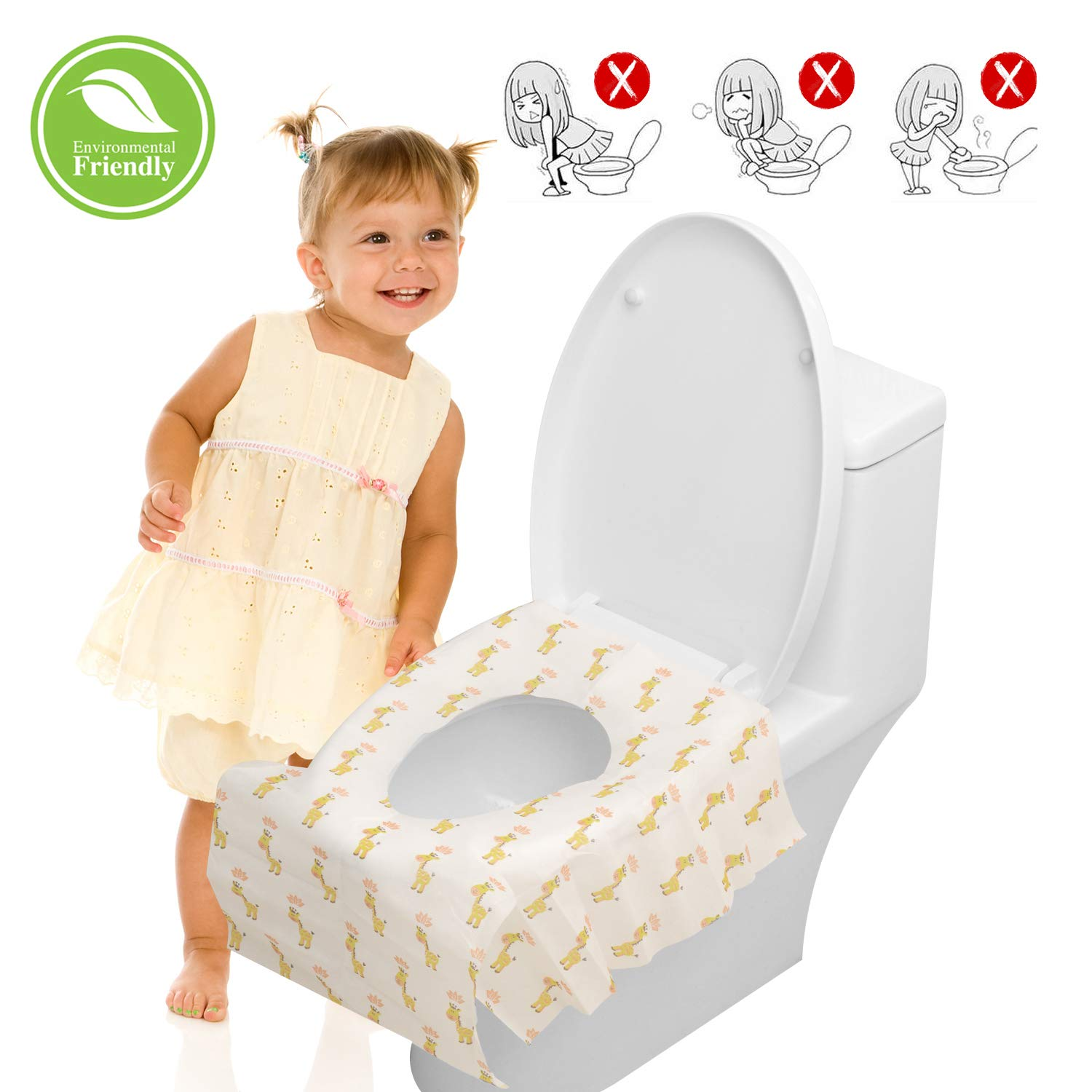 """Disposable Toilet Seat Covers for Kids - 20 Packs Toilet Covers Disposable Extra Large (24.6"""" X 25.9"""") Travel Individually Wrapped Portable Toddler Toilet Seat Cover Adhesive No Slip for Baby Potty Yarrades"""
