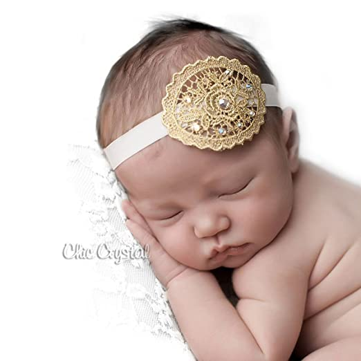 Amazon.com  Lace Vintage Gold ivory Headband for Newborn Baby Girls ... 3a4a487a4dd