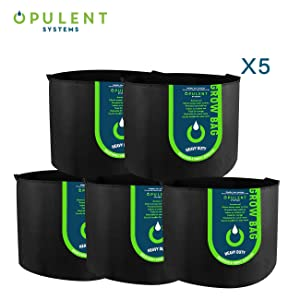 OPULENT SYSTEMS 5-Pack 20 Gallon Heavy Duty Aeration Fabric Grow Bags Thickened Nonwoven Fabric Containers for Potato/Plant Pots with Handles (Black)