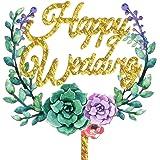 Aharan9 (アハランナイン) 結婚式 ウェディング ケーキトッパー ウェディングケーキ ケーキ トッパー 飾り デコレーション (HAPPY WEDDING花金)