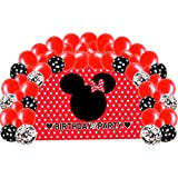 Girl Mouse Birthday Party Supplies Decorations, Red Backdrop with Balloons Kit for Kids Photo Background
