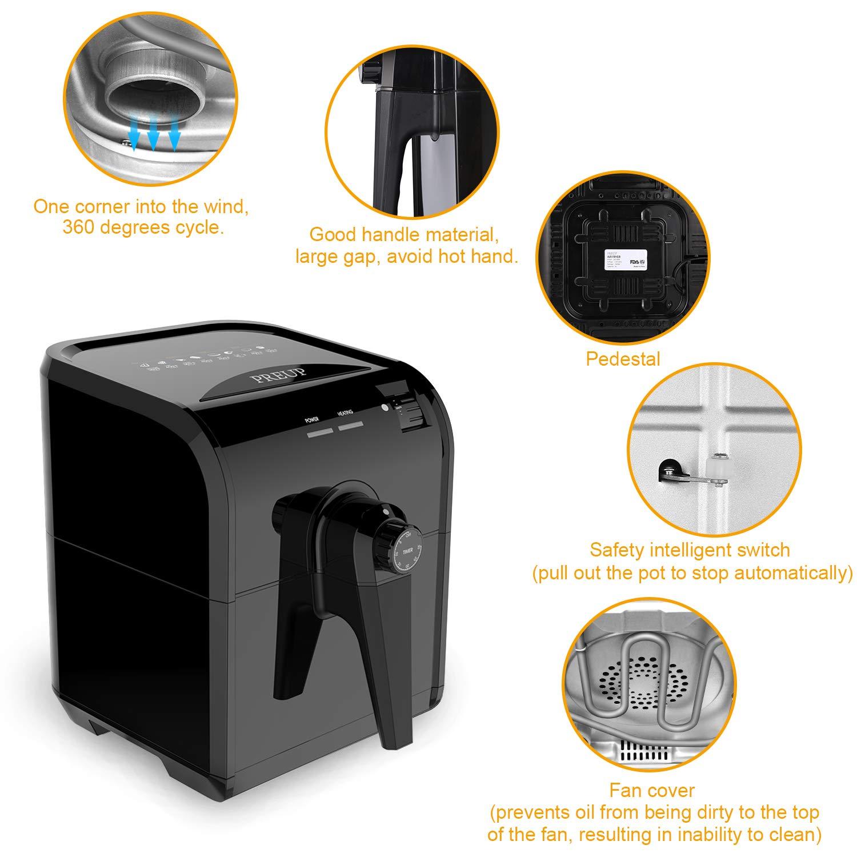 freidora sin aceite, freír con aire caliente de 3L, 1500W con control de temperatura 176°F-392°F y temporizador, sartén antiadherente, multimodos para dieta ...