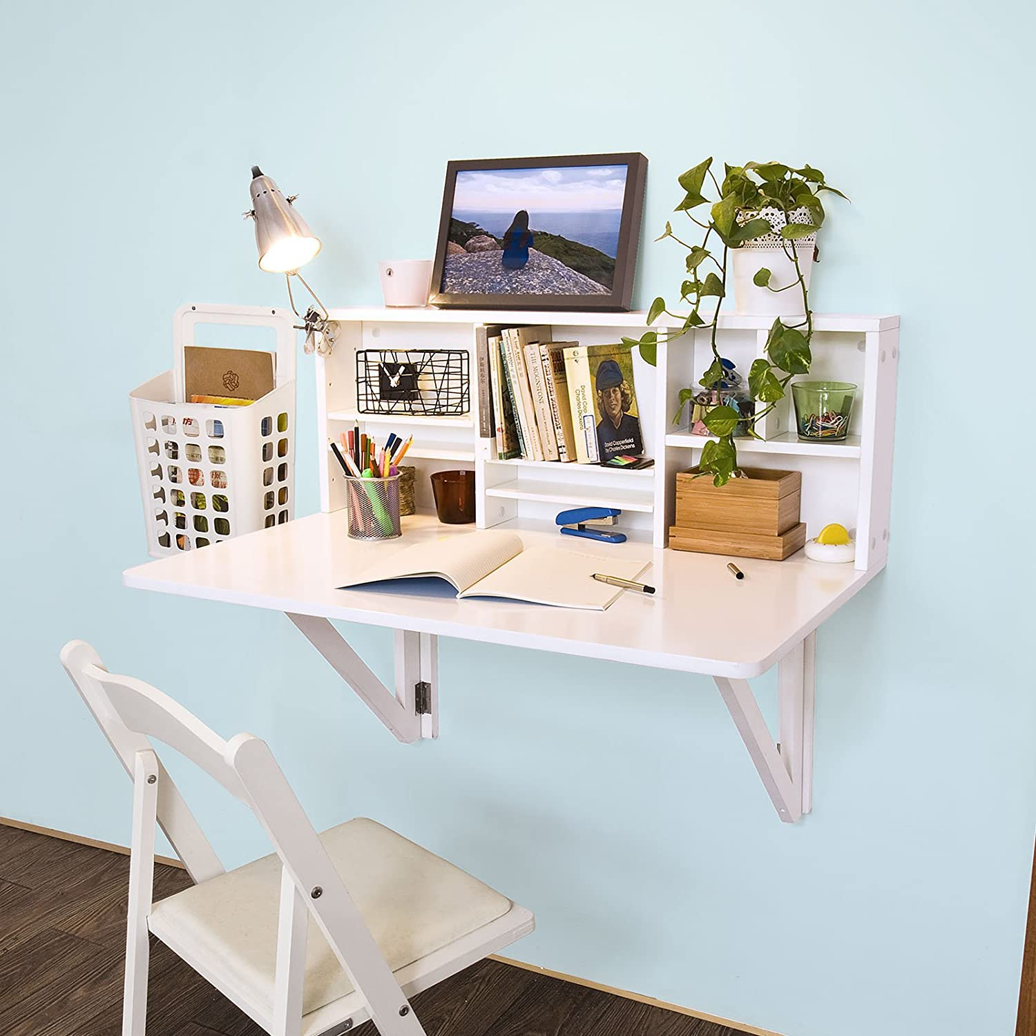 Floating white desk with hutch