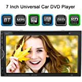 "KKmoon 7"" Reproductor Multimedia 2 DIN DVD/USB/SD Pantalla HD TFT UI BT Radio Entertenimiento Entrada Aux Multilenguaje para Coche Universal"