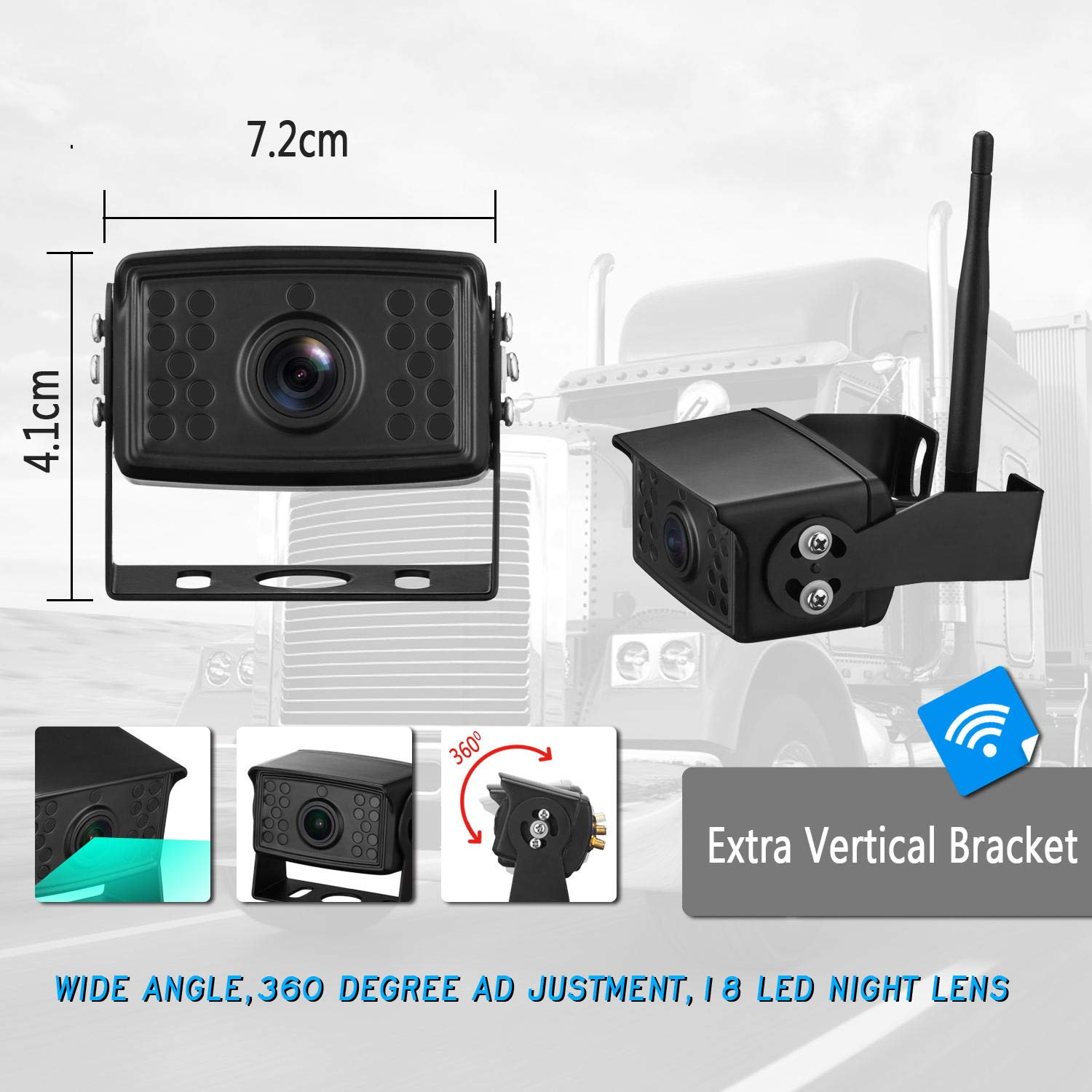 ZSMJ FHD 1080P Digital Wireless Backup Camera with 7 Monitor Support Dual//Quad Split Screen for Trailers,RVs,Trucks,Campers High-Speed Observation System Guide Lines On//Off