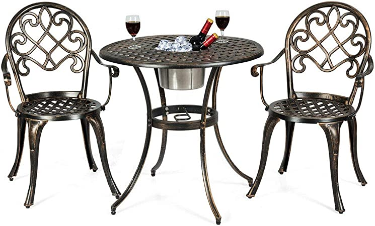 Amazon Com Giantex 3pcs Bistro Table Set Cast Aluminum Outdoor Patio Furniture Set Round Table W Removable Ice Bucket 2 Chairs Antique Garden Furniture Weather Resistant Antique Bronze Garden Outdoor