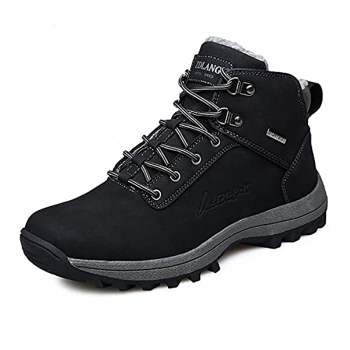 CHNHIRA Men's Snow Boots Outdoor Waterproof Sneaker Winter Warm Shoes 6.5UK  Black