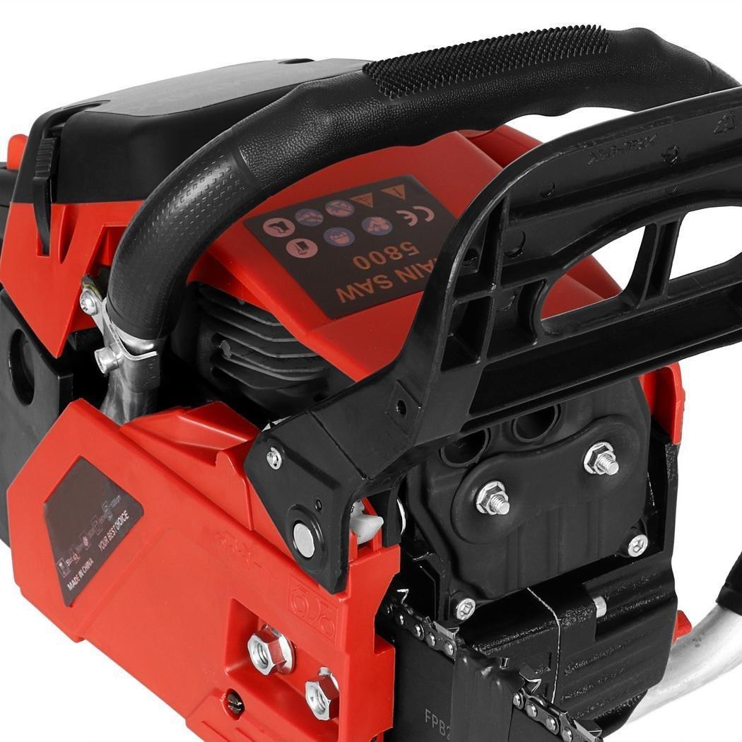 Coocheer Tron/çonneuse Thermique 58CC 2.8 Kw//10000rpm 4 PS Tron/çonneuse /à Essence Guide 51 cm Scie /à Cha/îne /à Essence