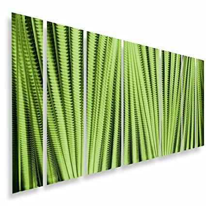 "Metal Wall Art Panels Large Sculpture Modern Abstract Green Painting Home Decor ""Main Attraction"