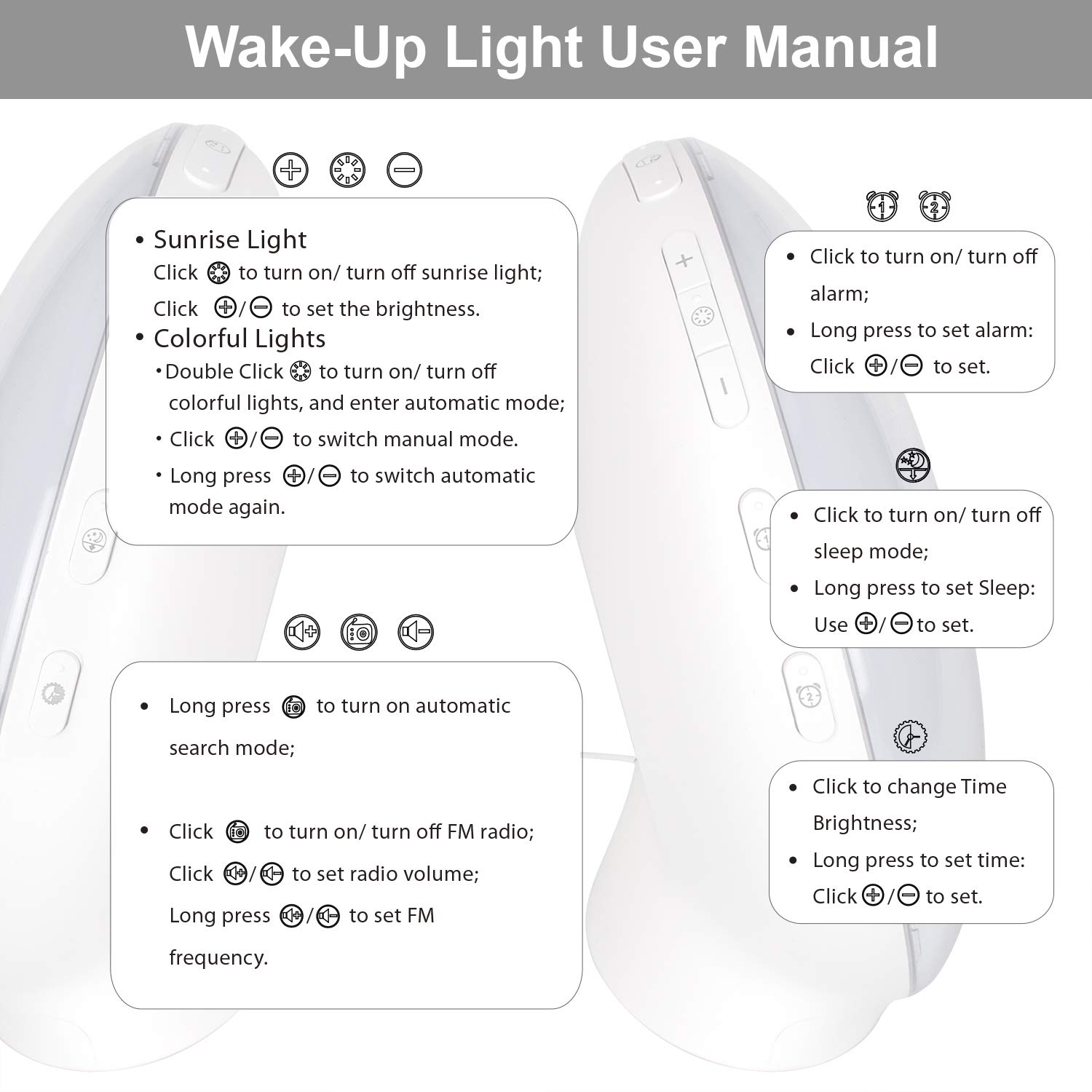 Snooze Function,8 Ring Tones Smartlife Android Smart Wake-Up