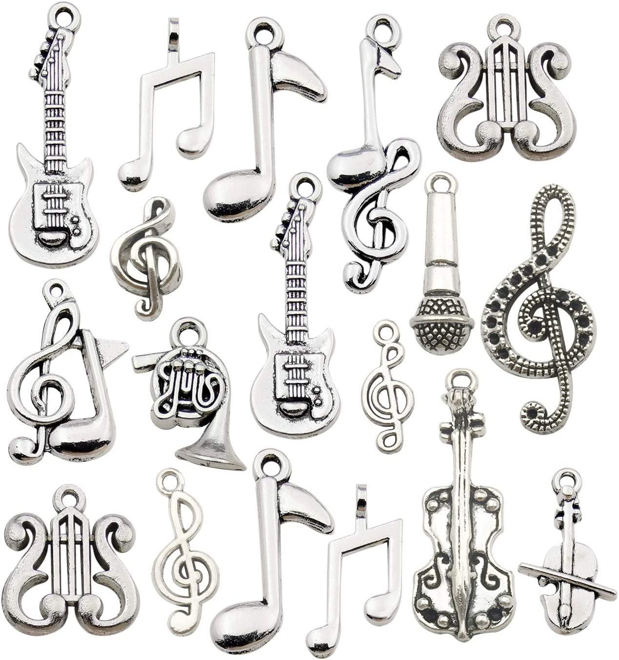 70pcs Craft Supplies Instrument Silver Music Notes Charms Pendants for Crafting, Jewelry Findings Making Accessory for DIY Necklace Bracelet Earrings HM211