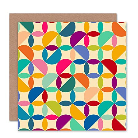 Wee Blue Coo ABSTRACT CIRCLES PATTERN COLOURS BLANK GREETINGS BIRTHDAY CARD ART Amazoncouk Kitchen Home