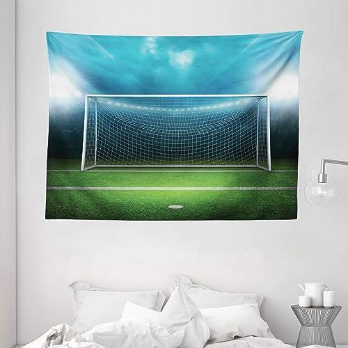 Ambesonne Soccer Tapestry, Soccer Goal Post Sports Area Winner Loser Line Floodlit Best Team Finals Game Theme, Wide Wall Hanging for Bedroom Living Room Dorm, 80 X 60 , Green Teal