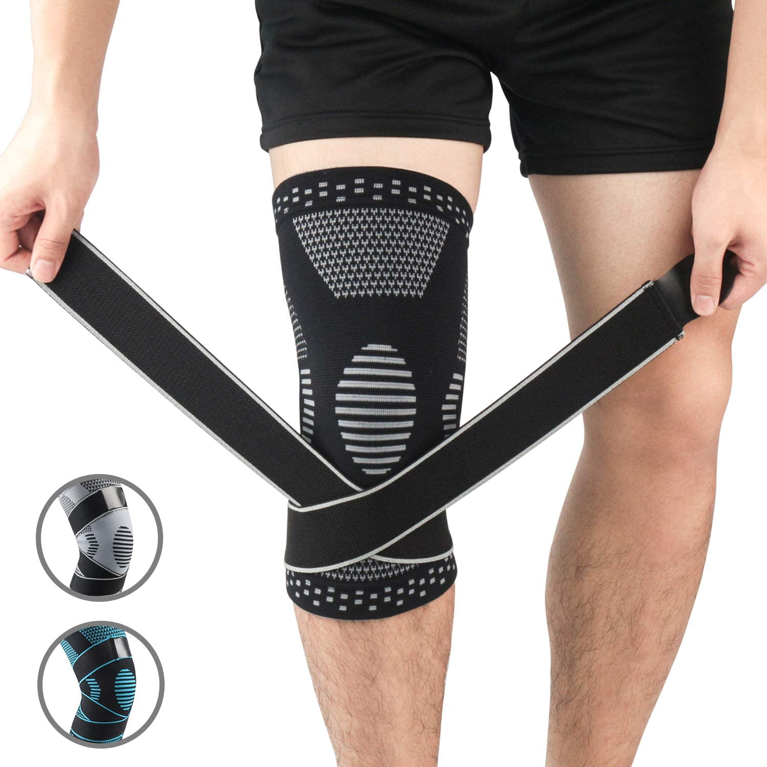 Injury Recovery Brace for Men and Women CrossFit Knee Compression Sleeve Support Running Joint Pain Relief Great Pads for any Exercise /& Sport Meniscus Tear Arthritis Basketball Jogging