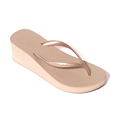 f8181520e4dd59 Havaianas 2.4 quot  High Wedge Heel Strap Rose Gold Flip Flops Women s  Fashion Sandal ...