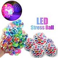 WP Squishy Mesh Anti-Stress Sensory Balls Grape Glowing Flashing Multi-Color Relief Relieve Pressure Fidget Squeeze Toys Non-Toxic for Women Men Kids Boys Girls Outdoor School Office Travel