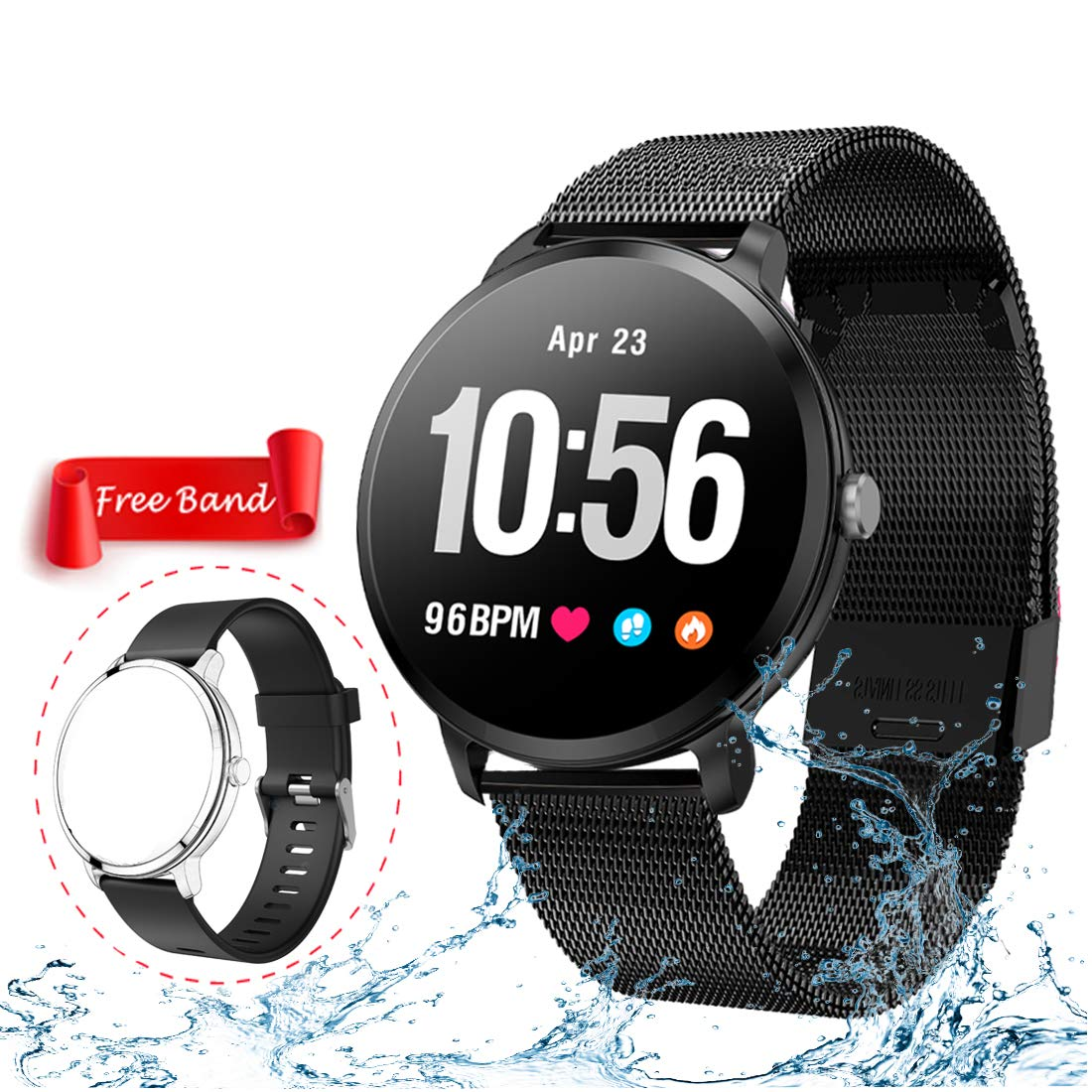 Smart Watch,Fitness Tracker with Heart Rate & Blood Pressure Monitor for Android & iOS, Waterproof Activity Tracker Watch with Sleep & Blood Oxygen Monitor, ...