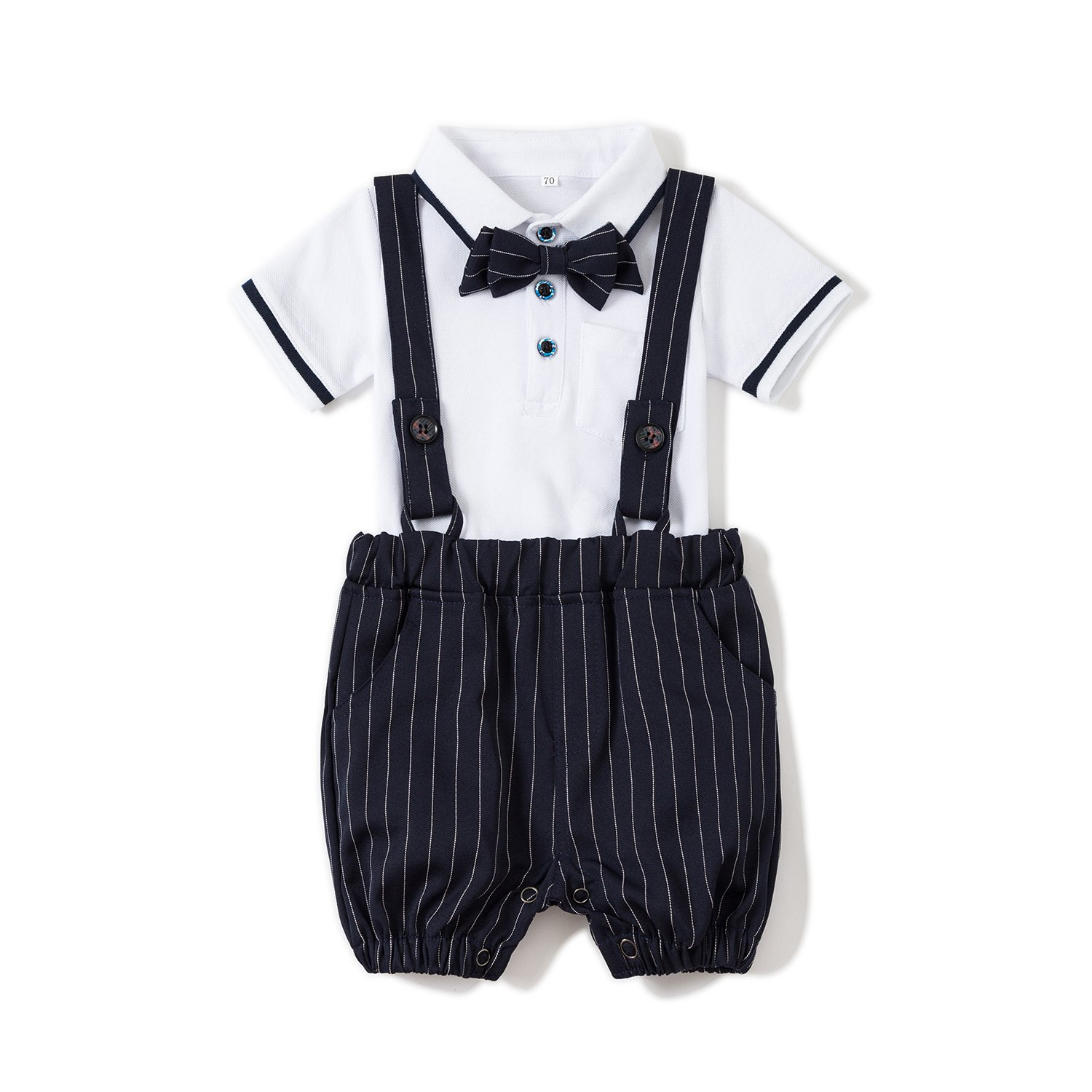 Baby Boys Gentleman Jumpsuit Outfits Suits Bow Tie Overalls Clothes Set (0-6Months, Blue) by Baby Love (Image #1)