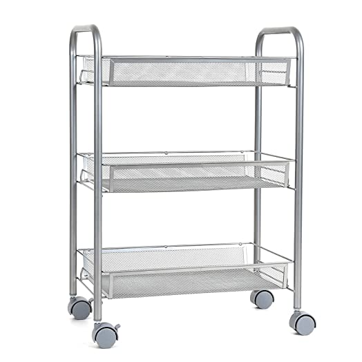 HOMFA Multipurpose Metal Mesh Carts Rolling Storage Rack Sturdy Serving  Trolley For Home Kitch Office (